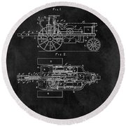 1903 Tractor Blueprint Patent Round Beach Towel