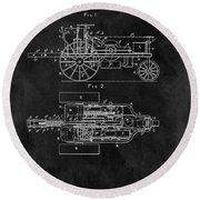 1903 Tractor Blueprint Patent Round Beach Towel