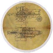 1903 Tractor Patent Round Beach Towel