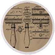 1904 Gillette Razor Patent Drawing Round Beach Towel