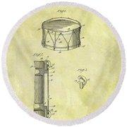 1905 Drum Patent Round Beach Towel