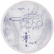 1906 Oyster Shucking Knife Patent Blueprint Round Beach Towel