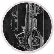 1907 Tractor Blueprint Patent Round Beach Towel