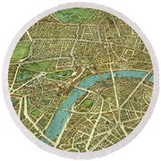 1908 London Vintage Map Poster Round Beach Towel