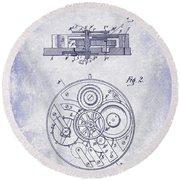 1908 Pocket Watch Patent Blueprint Round Beach Towel