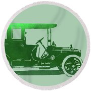 1909 Packard Limousine Green Pop Round Beach Towel