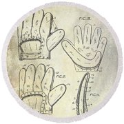 1910 Baseball Glove Patent  Round Beach Towel