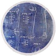 1911 Mechanical Skeleton Patent 1 Blue Round Beach Towel