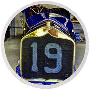 1911 National Speedway Roadster #19  Round Beach Towel