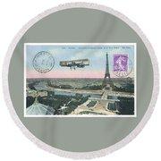1911 Paris Eiffel Tower Colorized Postcard Round Beach Towel