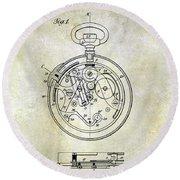 1913 Pocket Watch Patent Round Beach Towel