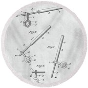 1913 Wrench Patent Illustration Round Beach Towel