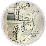 1914 Drum And Cymbal Patent Round Beach Towel