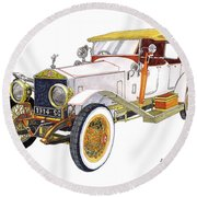 1914 Rolls Royce Silver Ghost Round Beach Towel