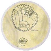 1916 Baseball Glove Patent Round Beach Towel