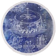 1916 Merry Go Round Patent Blue Round Beach Towel