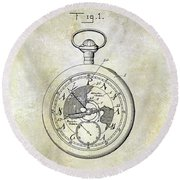 1916 Pocket Watch Patent Round Beach Towel