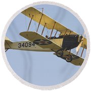 1917 Curtiss Jn-4d Jenny Flying Canvas Photo Poster Print Round Beach Towel