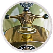 1917 Owen Magnetic M-25 Hood Ornament 2 Round Beach Towel