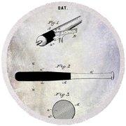 1920 Baseball Bat Patent Round Beach Towel