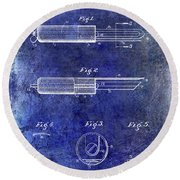 1920 Paring Knife Patent Blue Round Beach Towel