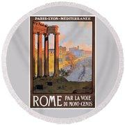 1920 Paris To Rome Train Travel Poster Round Beach Towel
