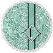 1920s Blue Deco Jazz Swing Monogram ...letter L Round Beach Towel