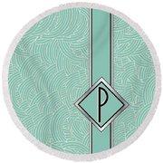 1920s Blue Deco Jazz Swing Monogram ...letter P Round Beach Towel