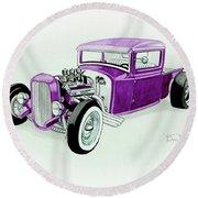 1920s Hotrod Pickup Round Beach Towel