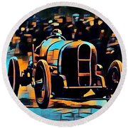 1920's Racing Car Round Beach Towel