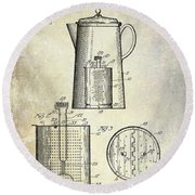 1921 Coffee Pot Patent Round Beach Towel