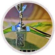 1921 Rolls-royce Silver Ghost Phaeton Hood Ornament Round Beach Towel