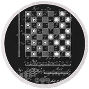 1923 Checkers And Chess Board Round Beach Towel