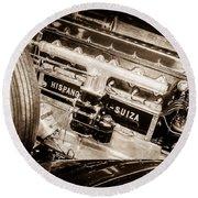 1924 Hispano-suiza H6b Dual  Cowl Sport Phaeton Engine Emblem -0258s Round Beach Towel