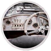 1925 Aston Martin 16 Valve Twin Cam Grand Prix Steering Wheel -0790ac Round Beach Towel