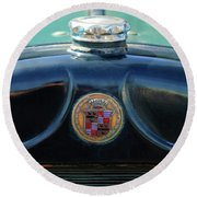 1925 Cadillac Hood Ornament And Emblem Round Beach Towel