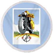 1925 Fn Motorcycles Advertising Poster Round Beach Towel