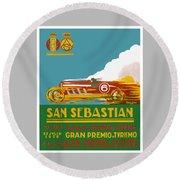 1926 San Sebastian Grand Prix Racing Poster Round Beach Towel