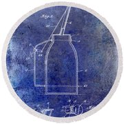 1927 Oil Can Patent Blue Round Beach Towel