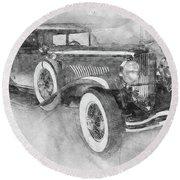 1928 Duesenberg Model J - Automotive Art - Car Posters Round Beach Towel