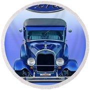 1928 Ford Tudor Sedan 'head On' Round Beach Towel