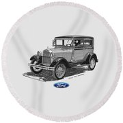 Model A Ford 2 Door Sedan Round Beach Towel