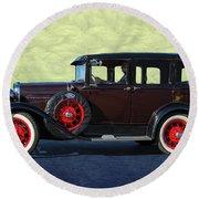 Historical Ford 4 Door Sedan Round Beach Towel