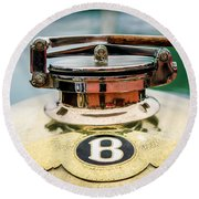 1929 Bentley 4.5-litre Open Tourer Hood Ornament Round Beach Towel
