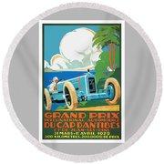 1929 Cap D'antibes Grand Prix Racing Poster Round Beach Towel