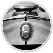 1929 Graham-paige Sport Roadster Emblem -0810bw Round Beach Towel