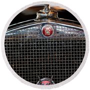 1930 Cadillac Roadster Hood Ornament 3 Round Beach Towel