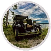 1930 Chevy On The Shore Of Higgins Lake Round Beach Towel