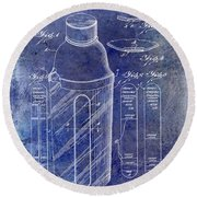 1930 Cocktail Shaker Patent Blue Round Beach Towel