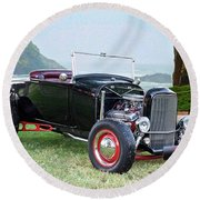 1930 Ford Model A Roadster 'oceanside' Round Beach Towel